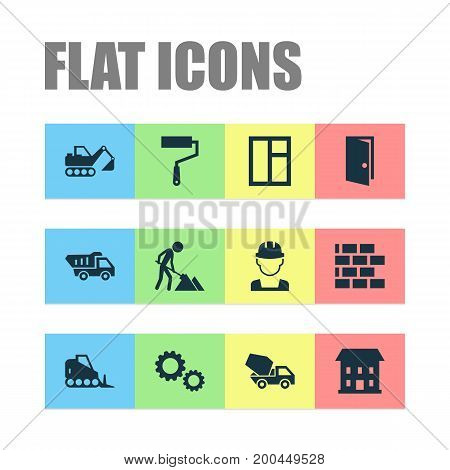 Construction Icons Set. Collection Of Wall, Entrance, Glass Frame And Other Elements