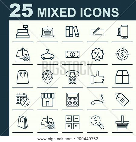 Ecommerce Icons Set. Collection Of Handbag, Recommended, Calculation Tool Elements