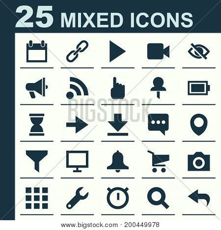 Interface Icons Set. Collection Of Camcorder, Map Pin, Photo And Other Elements
