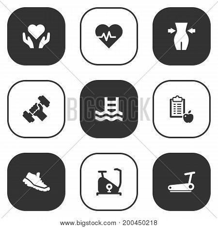 Collection Of Treadmill, Bodybuilding, Regime And Other Elements.  Set Of 9 Training Icons Set.