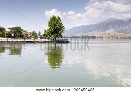 View of the lake Pamvotis on a cloudy day (Epirus region, Greece)
