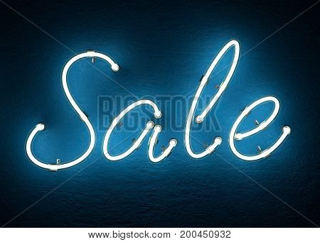 Text Sale made from neon alphabet. 3D illustration