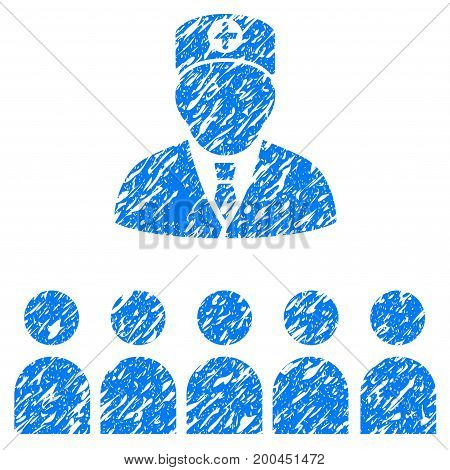 Grunge Doctor Class icon with grunge design and unclean texture. Unclean vector blue pictogram for rubber seal stamp imitations and watermarks. Draft sign symbol.