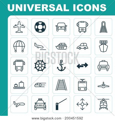 Shipping Icons Set. Collection Of Auto Car, Skydive, Streetcar And Other Elements