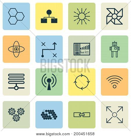 Robotics Icons Set. Collection Of Information Components, Controlling Board, Analysis Diagram And Other Elements