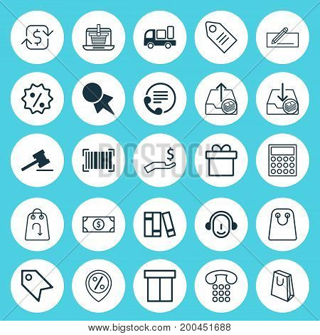 Ecommerce Icons Set. Collection Of Box, Ticket, Bookshelf And Other Elements