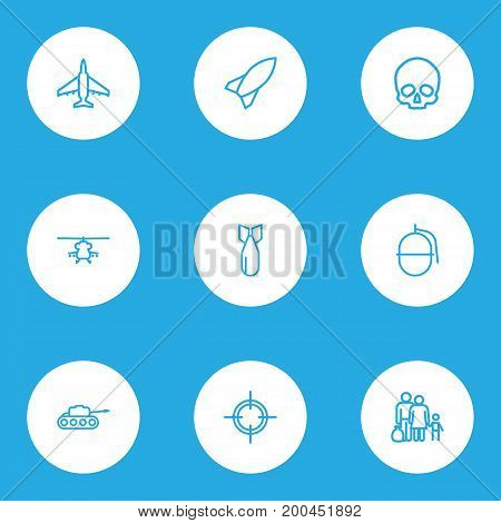 Army Outline Icons Set. Collection Of Target, Cranium, Aircraft And Other Elements