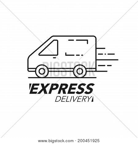 Express Delivery Icon Concept. Van Service, Order, Worldwide Shipping.