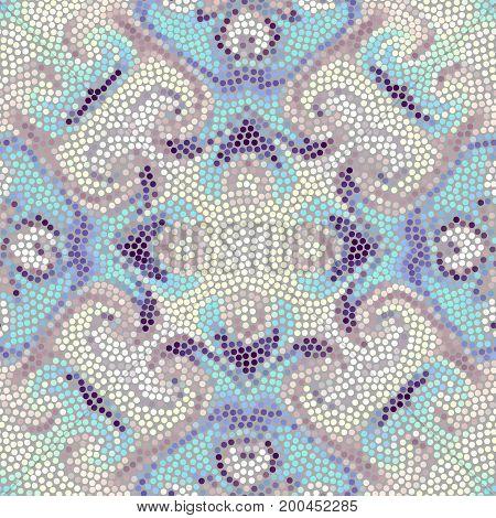 Irregular dots patterm. Seamless background. Mosaic art tile of small dots. Random circles.