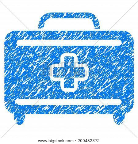 Grunge Medical Baggage icon with grunge design and dirty texture. Unclean vector blue pictogram for rubber seal stamp imitations and watermarks. Draft sign symbol.
