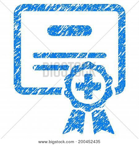 Grunge Medical Certificate icon with grunge design and unclean texture. Unclean vector blue pictogram for rubber seal stamp imitations and watermarks. Draft sign symbol.