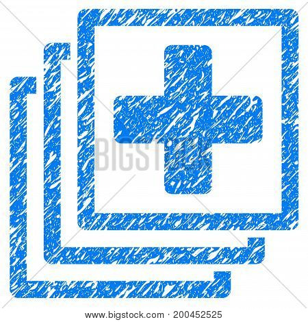 Grunge Medical Docs icon with grunge design and unclean texture. Unclean vector blue pictogram for rubber seal stamp imitations and watermarks. Draft emblem symbol.