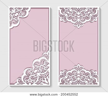 Elegant panels with lace pattern, rectangle frames for laser cutting or wood carving, cutout paperwork templates, swirly decoration for wedding invitation card