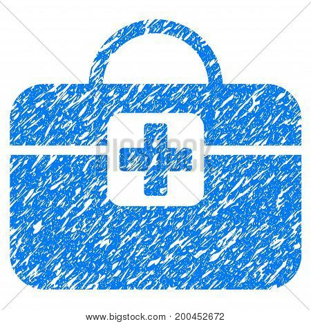 Grunge Medical Kit icon with grunge design and unclean texture. Unclean vector blue pictogram for rubber seal stamp imitations and watermarks. Draft sticker symbol.
