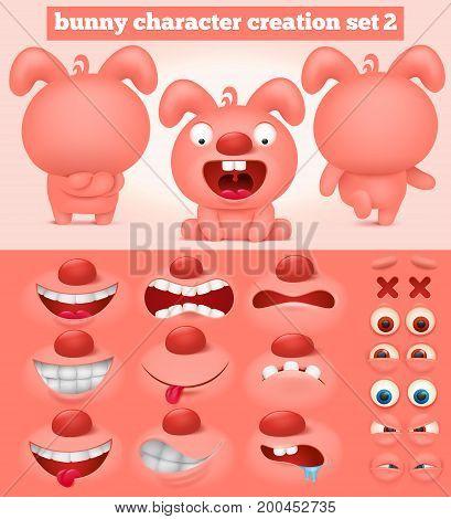 Creation set of cartoon emoticon pink bunny character. Vector illustration