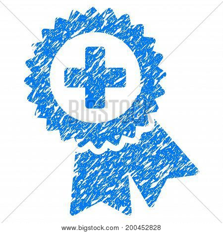 Grunge Medical Quality Seal icon with grunge design and unclean texture. Unclean vector blue pictogram for rubber seal stamp imitations and watermarks. Draft sign symbol.