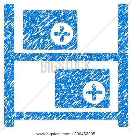 Grunge Medical Warehouse icon with grunge design and unclean texture. Unclean vector blue pictogram for rubber seal stamp imitations and watermarks. Draft sign symbol.