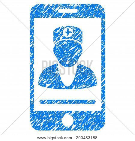 Grunge Online Doctor icon with grunge design and unclean texture. Unclean vector blue pictogram for rubber seal stamp imitations and watermarks. Draft emblem symbol.