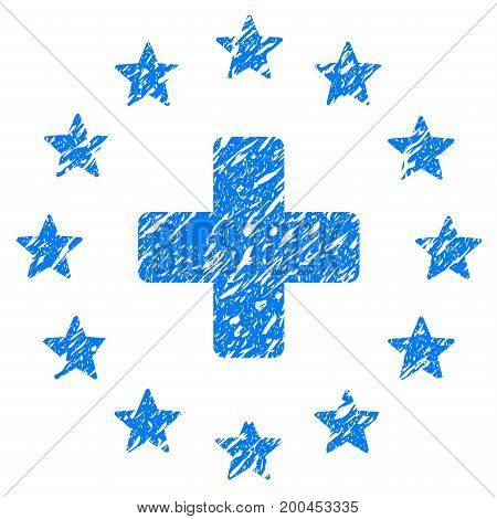Grunge Starred Medical Cross icon with grunge design and dust texture. Unclean vector blue pictogram for rubber seal stamp imitations and watermarks. Draft emblem symbol.