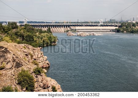 View of the Hydro power station on the island Khortytsya Zaporozhye Ukraine