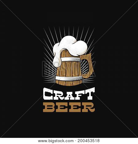 Wooden mug of beer with foam. Craft brewery logo. Stock vector illustration.