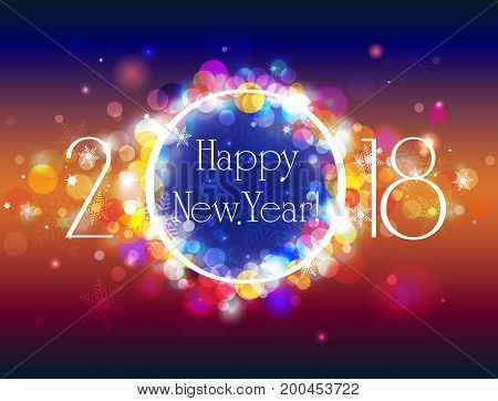 Happy New Year 2018 vector colorful background with some space for text vector illustration with well organized layers