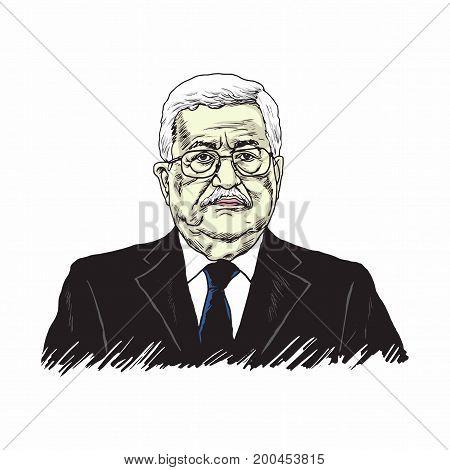 Mahmoud Abbas, President of Palestine, Vector Design Illustration, August 20, 2017.