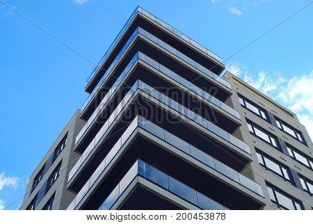 modern architecture residential building condominium skyscraper corner