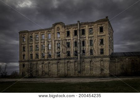Abandoned building ruined mill. Lair of witches