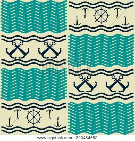 Nautical pattern with waves, anchors and ship steering wheels. Marine theme vector print in retro color palette