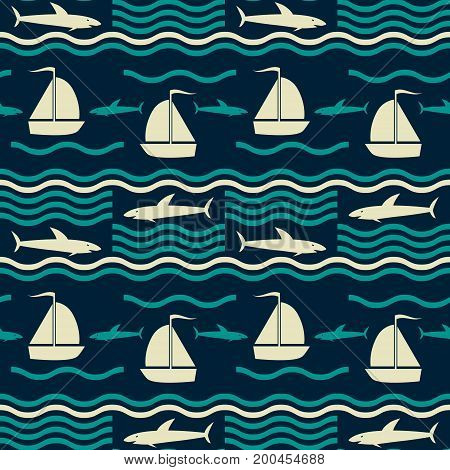 Seamless nautical pattern with waves, sharks and sailboats. Marine theme vector print in retro color palette