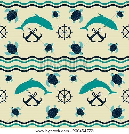 Seamless nautical pattern with waves, crossed anchors, ship steering wheels, diving dolphins and floating sea turtles. Marine theme vector print in retro color palette