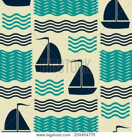 Seamless nautical pattern with waves and sailing yachts. Marine theme vector print in retro color palette