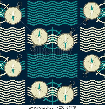 Seamless nautical pattern with waves, ship steering wheels and compasses. Marine theme vector print in retro color palette
