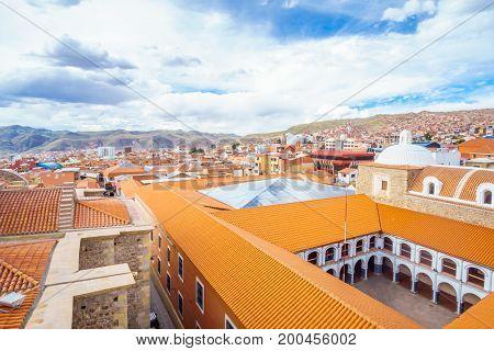 View on cityscape of colonial tow of Potosi - Colegio Nacional Pichincha - Bolivia