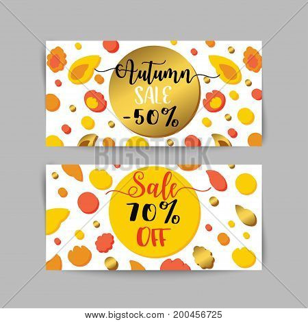 Autumn sale banners and ads web template set. Golen fall flyer. Vector illustrations for website and discount coupon, posters, email and newsletter designs, advertising.