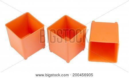 part of empty plastic tool organiser isolated on white background