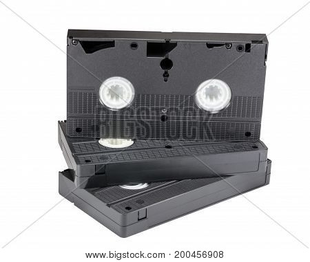 Old VHS Video cassettes on white background