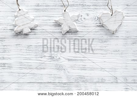 Christmas decorations on grey wooden background top view. Copy space.