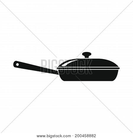 Frying pan in black simple silhouette style icons vector illustration for design and web isolated on white background. Pan vector object for labels and logo