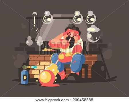 Man blowing hot glass flasks and containers. Vector flat illustration