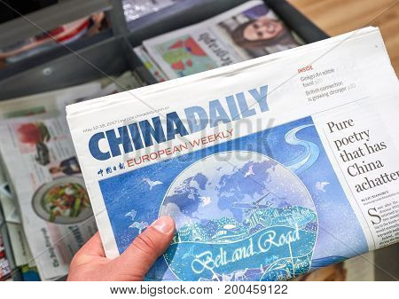 LONDON ENGLAND - MAY 14 2017 : China Daily Eropean Weekly newspaper. China Daily is an English-language daily newspaper published in the People's Republic of China.