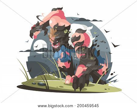 Werewolf to turn from man to wolf full moon. Vector illustration