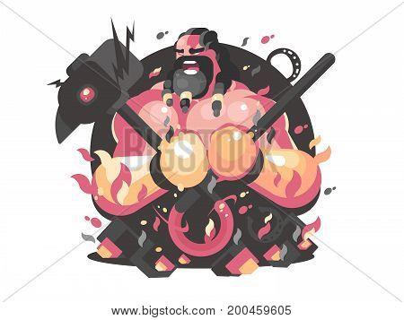 Hephaestus ancient greek god of fire and blacksmith craft. Vector illustration