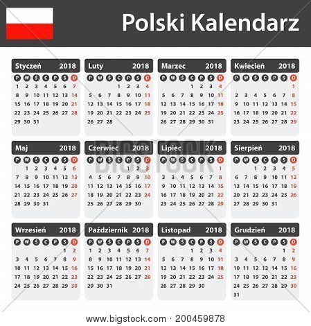 Polish Calendar for 2018. Scheduler, agenda or diary template. Week starts on Monday