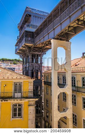 10 July 2017 - Lisbon, Portugal. The Santa Justa Lift Also Called Carmo Lift Is An Elevator In Lisbo