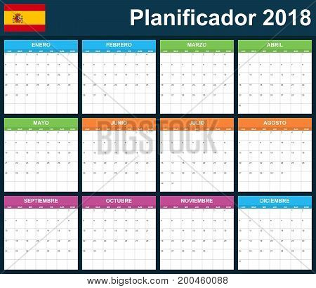 Spanish Planner blank for 2018. Scheduler, agenda or diary template. Week starts on Monday