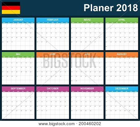 German Planner blank for 2018. Scheduler, agenda or diary template. Week starts on Monday