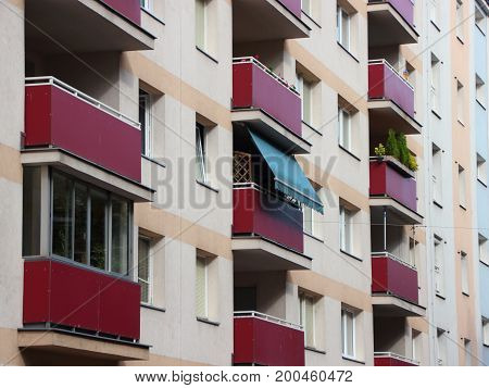 Single Blue Sun Shade Blind on Urban Apartment Building
