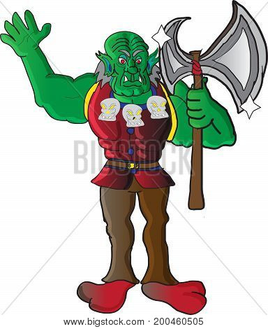 A menacing orc with angry eyes checking the sharpness  of his enormous axe. Sculls hanging from his neck and his sharp  teeth make his appearance more frightening.